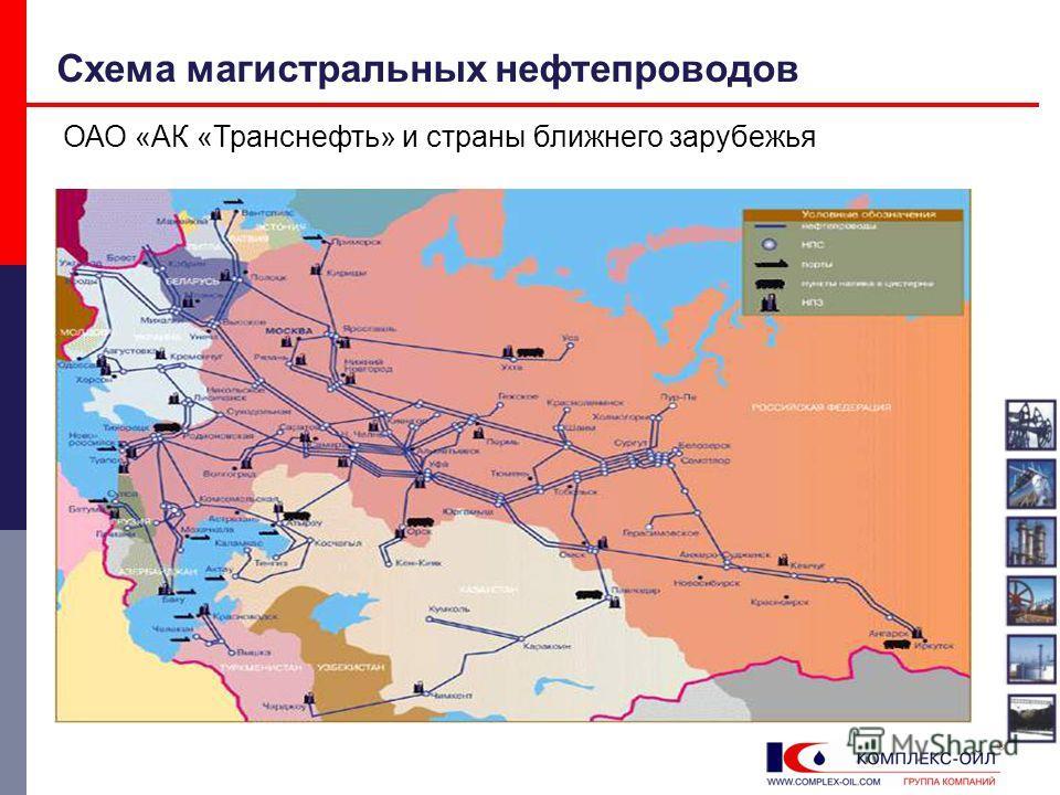 Схема магистральных нефтепроводов ОАО «АК «Транснефть» и страны ближнего зарубежья