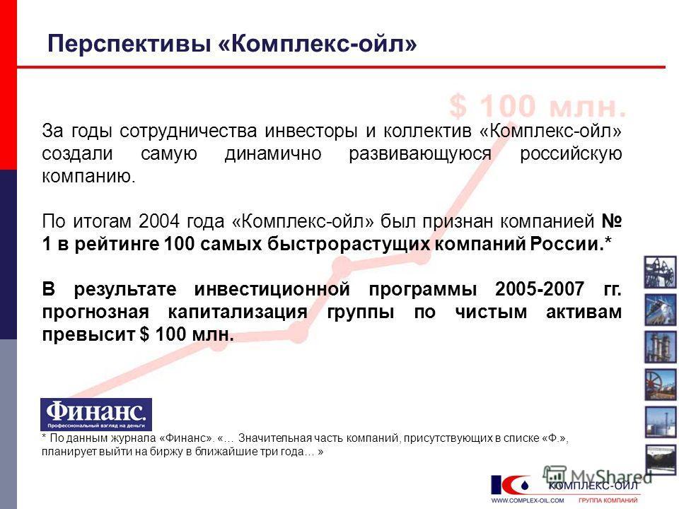 Перспективы «Комплекс-ойл» За годы сотрудничества инвесторы и коллектив «Комплекс-ойл» создали самую динамично развивающуюся российскую компанию. По итогам 2004 года «Комплекс-ойл» был признан компанией 1 в рейтинге 100 самых быстрорастущих компаний