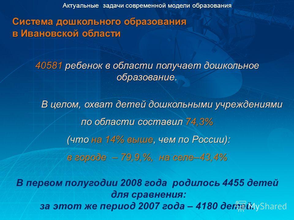 Актуальные задачи современной модели образования Система дошкольного образования в Ивановской области 40581 ребенок в области получает дошкольное образование. В целом, охват детей дошкольными учреждениями по области составил 74,3% (что на 14% выше, ч