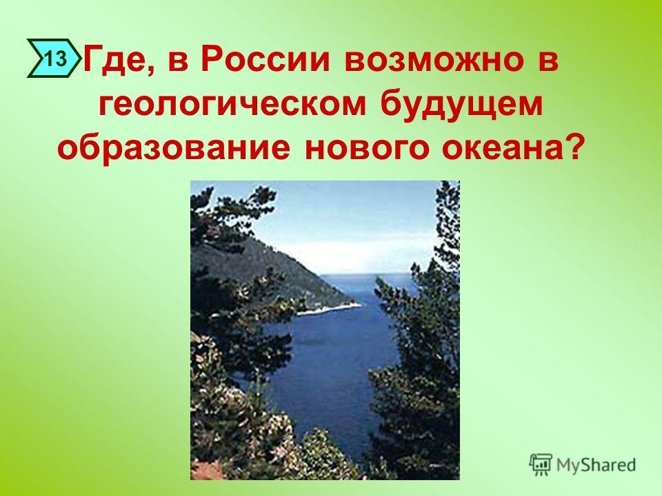 Где, в России возможно в геологическом будущем образование нового океана? 13