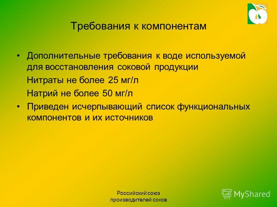 Российский союз производителей соков Требования к компонентам Дополнительные требования к воде используемой для восстановления соковой продукции Нитраты не более 25 мг/л Натрий не более 50 мг/л Приведен исчерпывающий список функциональных компонентов