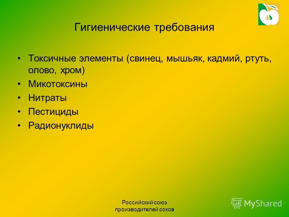 Российский союз производителей соков Гигиенические требования Токсичные элементы (свинец, мышьяк, кадмий, ртуть, олово, хром) Микотоксины Нитраты Пестициды Радионуклиды