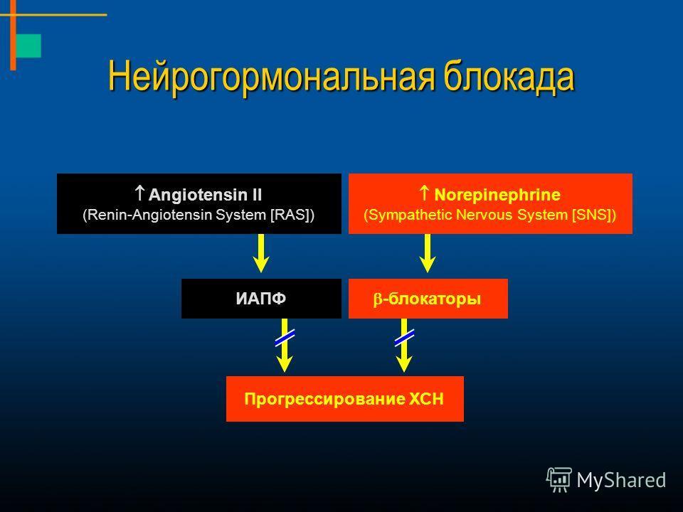 Angiotensin II (Renin-Angiotensin System [RAS]) Norepinephrine (Sympathetic Nervous System [SNS]) ИАПФ -блокаторы Прогрессирование ХСН Нейрогормональная блокада