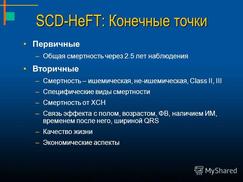 SCD-HeFT: Конечные точки Первичные –Общая смертность через 2.5 лет наблюдения Вторичные –Смертность – ишемическая, не-ишемическая, Class II, III –Специфические виды смертности –Смертность от ХСН –Связь эффекта с полом, возрастом, ФВ, наличием ИМ, вре