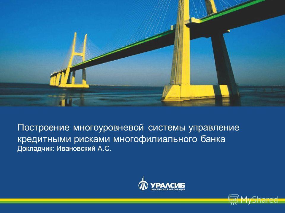 Построение многоуровневой системы управление кредитными рисками многофилиального банка Докладчик: Ивановский А.С.
