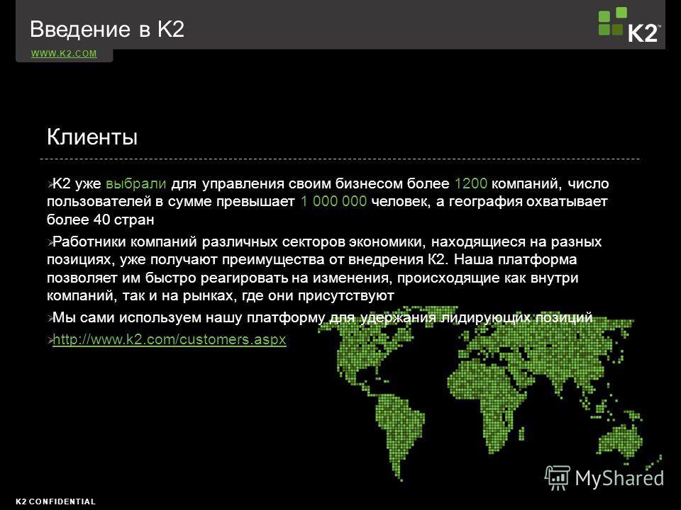 WWW.K2.COM K2 CONFIDENTIAL K2 уже выбрали для управления своим бизнесом более 1200 компаний, число пользователей в сумме превышает 1 000 000 человек, а география охватывает более 40 стран Работники компаний различных секторов экономики, находящиеся н
