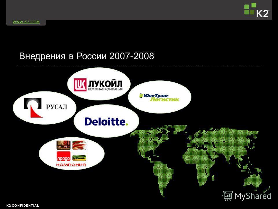 WWW.K2.COM K2 CONFIDENTIAL Внедрения в России 2007-2008