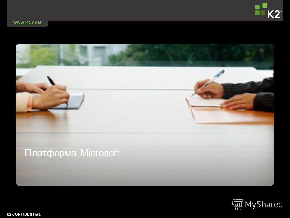 WWW.K2.COM K2 CONFIDENTIAL Платформа Microsoft