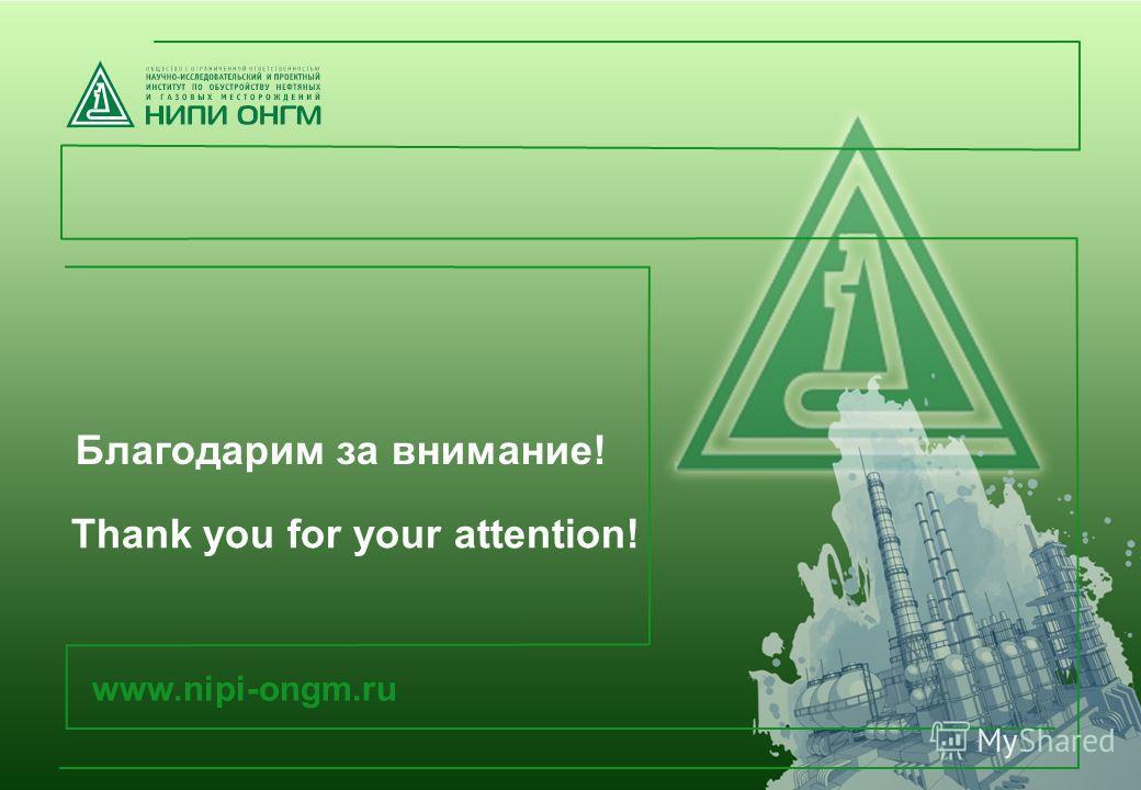 Благодарим за внимание! www.nipi-ongm.ru Thank you for your attention!