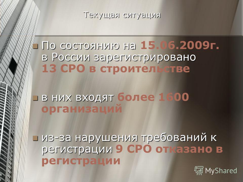 Текущая ситуация По состоянию на в России зарегистрировано По состоянию на 15.06.2009г. в России зарегистрировано 13 СРО в строительстве в них входят в них входят более 1600 организаций из-за нарушения требований к регистрации из-за нарушения требова