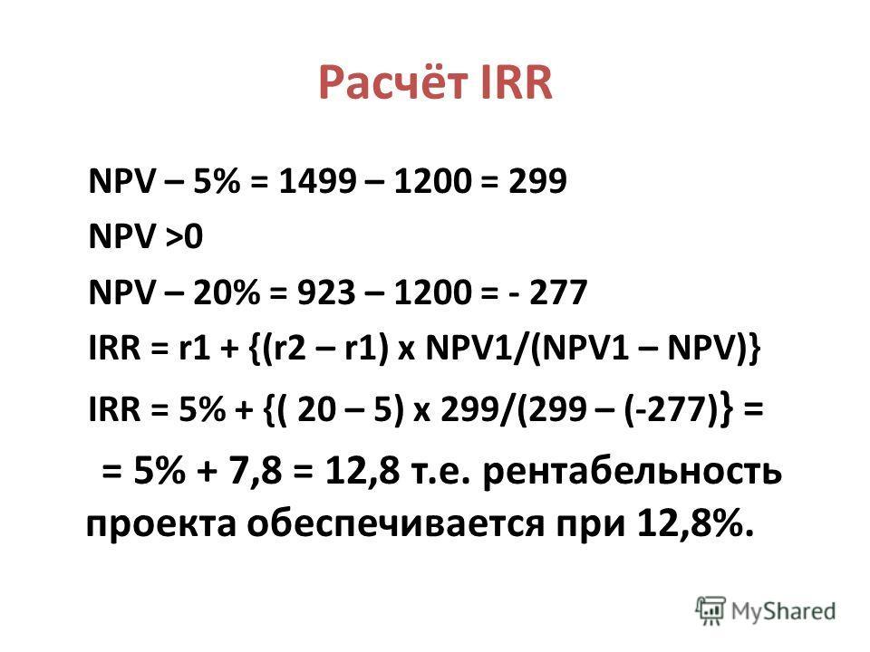 Расчёт IRR NPV – 5% = 1499 – 1200 = 299 NPV >0 NPV – 20% = 923 – 1200 = - 277 IRR = r1 + {(r2 – r1) x NPV1/(NPV1 – NPV)} IRR = 5% + {( 20 – 5) x 299/(299 – (-277) } = = 5% + 7,8 = 12,8 т.е. рентабельность проекта обеспечивается при 12,8%.