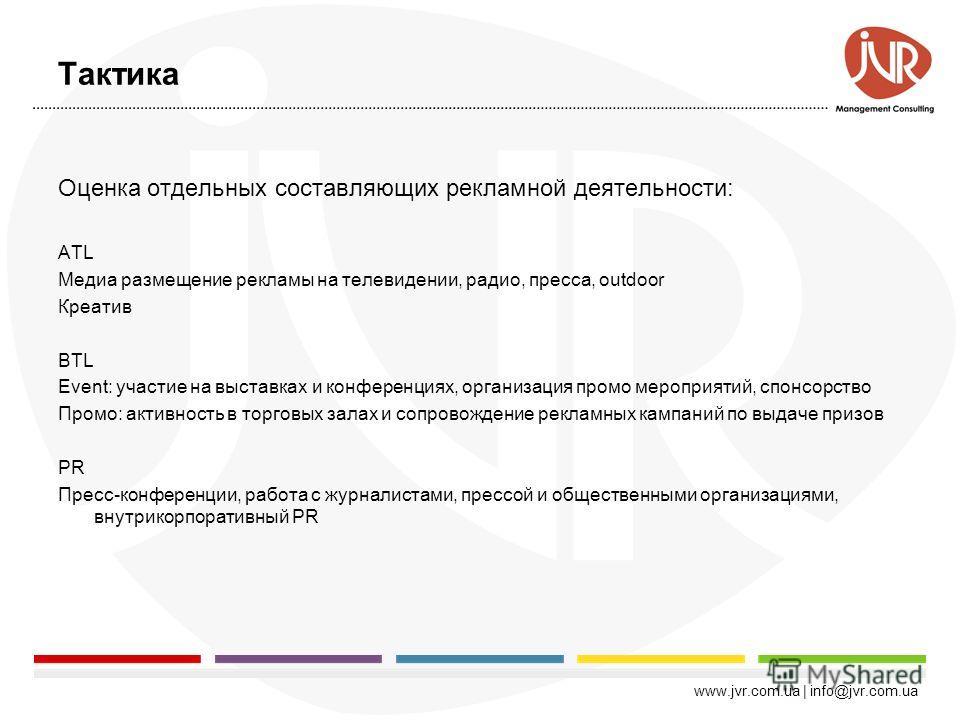 www.jvr.com.ua | info@jvr.com.ua Карта показателей эффективности Стратегия Тактика КраткосрочныеДолгосрочные Охват целевой аудитории (GRP) Стоимость 1 GRP Показатели качества проведения ROI рекламной кампании ROI маркетинга Доля рынка Competitive Gap