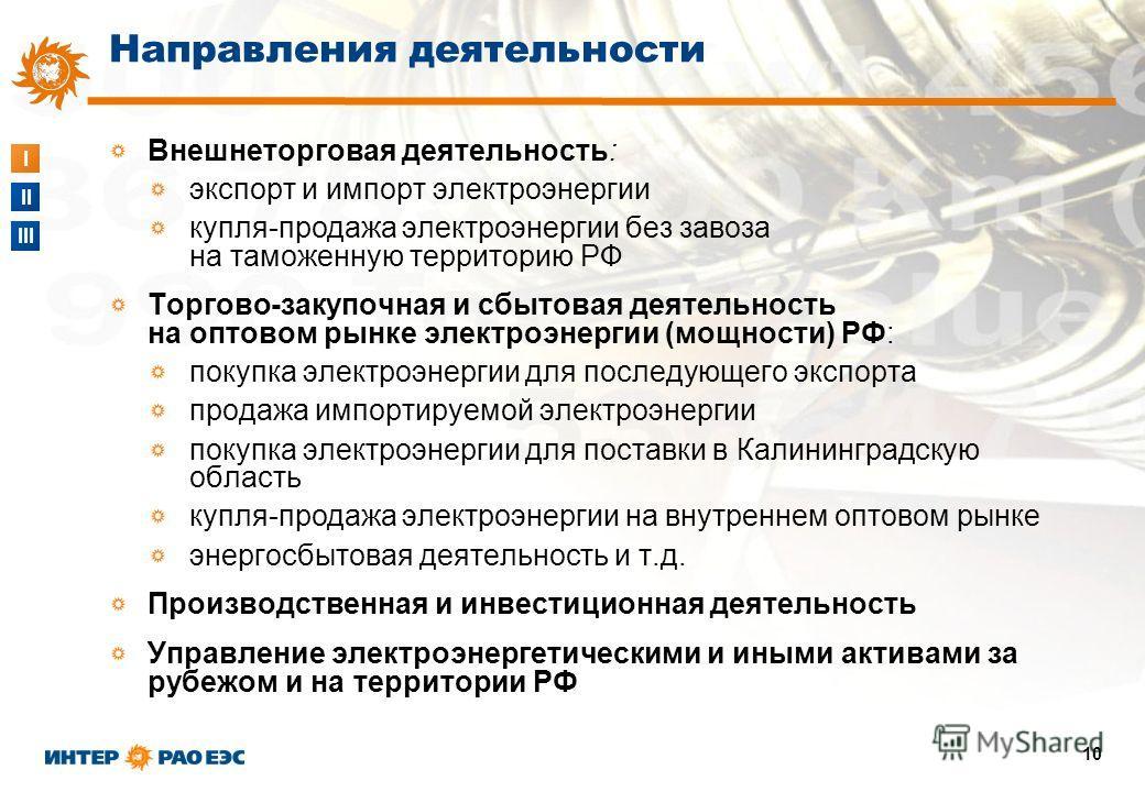 I II III 10 Внешнеторговая деятельность: экспорт и импорт электроэнергии купля-продажа электроэнергии без завоза на таможенную территорию РФ Торгово-закупочная и сбытовая деятельность на оптовом рынке электроэнергии (мощности) РФ: покупка электроэнер