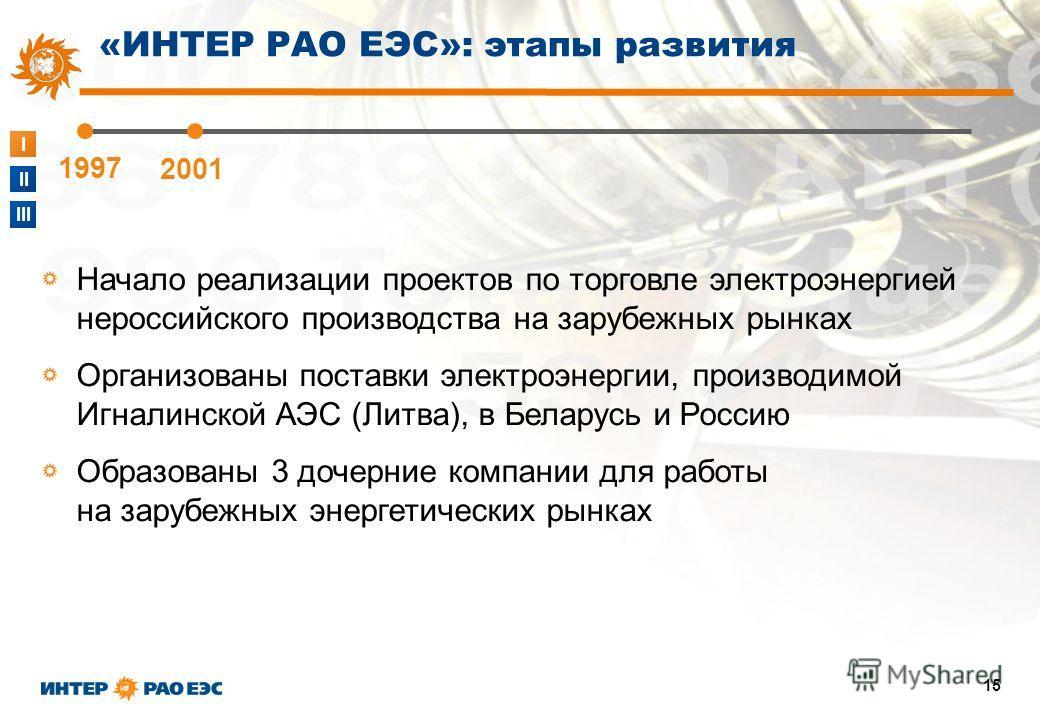 I II III 15 1997 2001 «ИНТЕР РАО ЕЭС»: этапы развития Начало реализации проектов по торговле электроэнергией нероссийского производства на зарубежных рынках Организованы поставки электроэнергии, производимой Игналинской АЭС (Литва), в Беларусь и Росс
