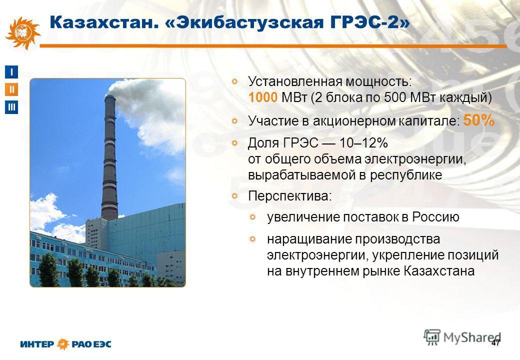 I II III 47 Установленная мощность: 1000 МВт (2 блока по 500 МВт каждый) Участие в акционерном капитале: 50% Доля ГРЭС 10–12% от общего объема электроэнергии, вырабатываемой в республике Перспектива: увеличение поставок в Россию наращивание производс