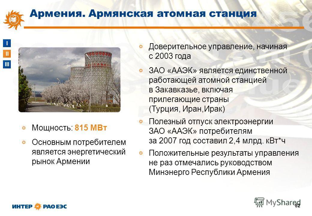 I II III 52 Доверительное управление, начиная с 2003 года ЗАО «ААЭК» является единственной работающей атомной станцией в Закавказье, включая прилегающие страны (Турция, Иран,Ирак) Полезный отпуск электроэнергии ЗАО «ААЭК» потребителям за 2007 год сос