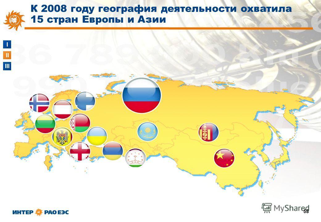 I II III 58 К 2008 году география деятельности охватила 15 стран Европы и Азии