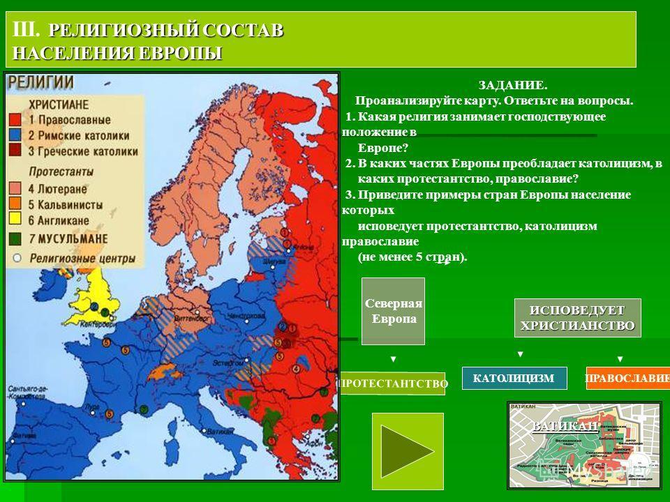 Северная Европа ИСПОВЕДУЕТХРИСТИАНСТВО ПРОТЕСТАНТСТВО КАТОЛИЦИЗМПРАВОСЛАВИЕ РЕЛИГИОЗНЫЙ СОСТАВ III. РЕЛИГИОЗНЫЙ СОСТАВ НАСЕЛЕНИЯ ЕВРОПЫ ЗАДАНИЕ. Проанализируйте карту. Ответьте на вопросы. 1. Какая религия занимает господствующее положение в Европе?