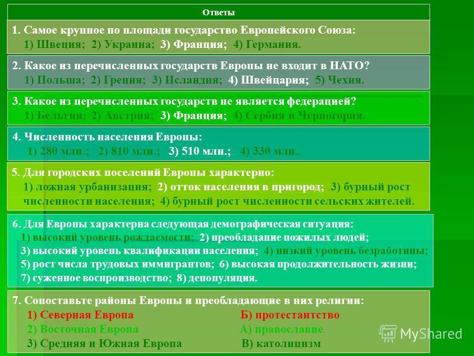 Ответы 1. Самое крупное по площади государство Европейского Союза: 1) Швеция; 2) Украина; 3) Франция; 4) Германия. 2. Какое из перечисленных государств Европы не входит в НАТО? 1) Польша; 2) Греция; 3) Исландия; 4) Швейцария; 5) Чехия. 3. Какое из пе