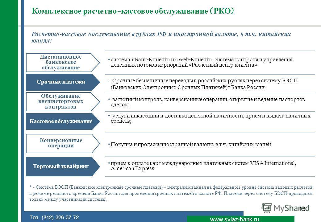 13 www.sviaz-bank.ru Тел. (812) 326-37-72 Комплексное расчетно-кассовое обслуживание (РКО) Расчетно-кассовое обслуживание в рублях РФ и иностранной валюте, в т.ч. китайских юанях: система «Банк-Клиент» и «Web-Клиент», система контроля и управления де