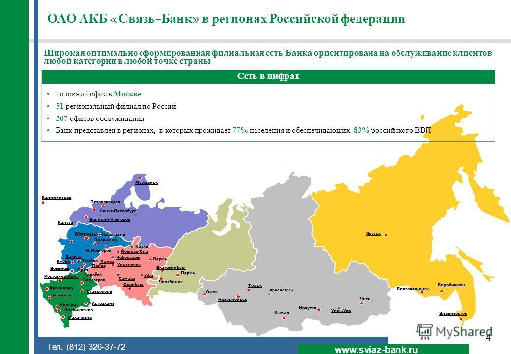 4 www.sviaz-bank.ru Тел. (812) 326-37-72 ОАО АКБ «Связь-Банк» в регионах Российской федерации Сеть в цифрах Головной офис в Москве 51 региональный филиал по России 207 офисов обслуживания Банк представлен в регионах, в которых проживает 77% населения