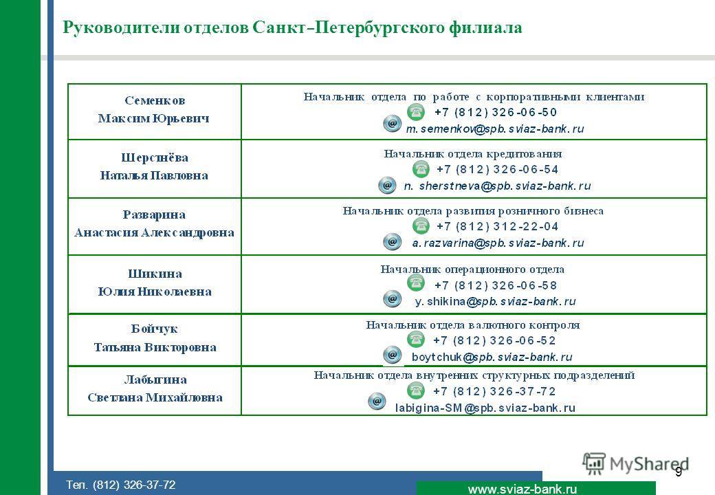 9 www.sviaz-bank.ru Тел. (812) 326-37-72 Руководители отделов Санкт-Петербургского филиала