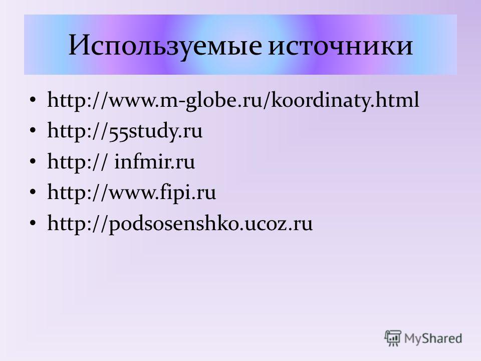 Используемые источники http://www.m-globe.ru/koordinaty.html http://55study.ru http:// infmir.ru http://www.fipi.ru http://podsosenshko.ucoz.ru