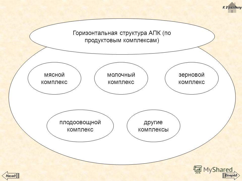 Горизонтальная структура АПК (по продуктовым комплексам) мясной комплекс молочный комплекс плодоовощной комплекс другие комплексы зерновой комплекс К 2 разделу К 2 разделу Вперёд Назад