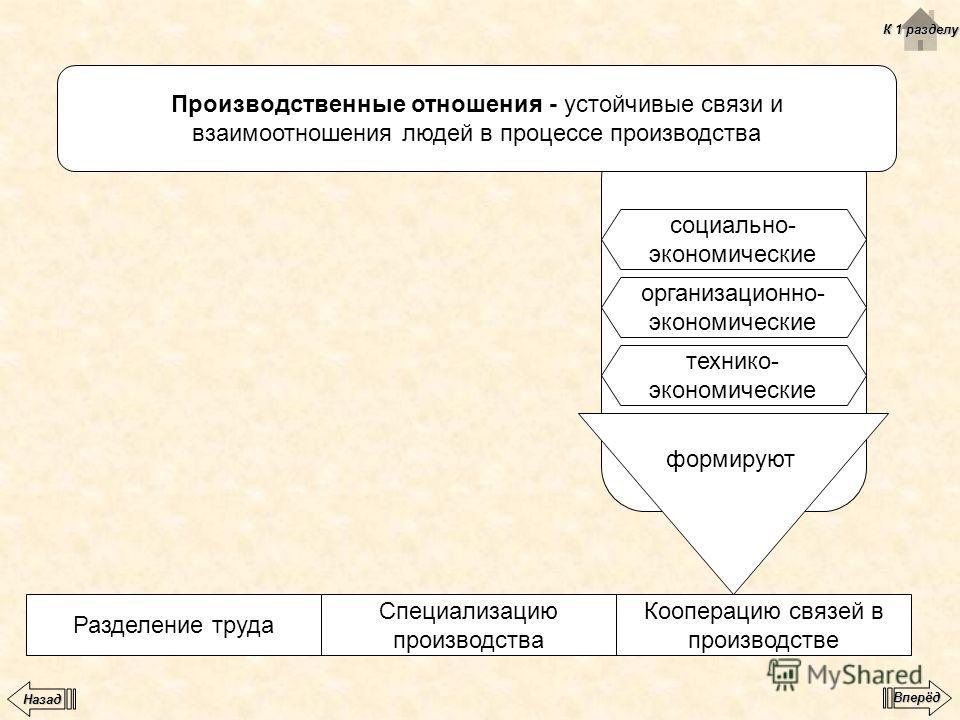 Производственные отношения - устойчивые связи и взаимоотношения людей в процессе производства социально- экономические организационно- экономические технико- экономические формируют Кооперацию связей в производстве Специализацию производства Разделен