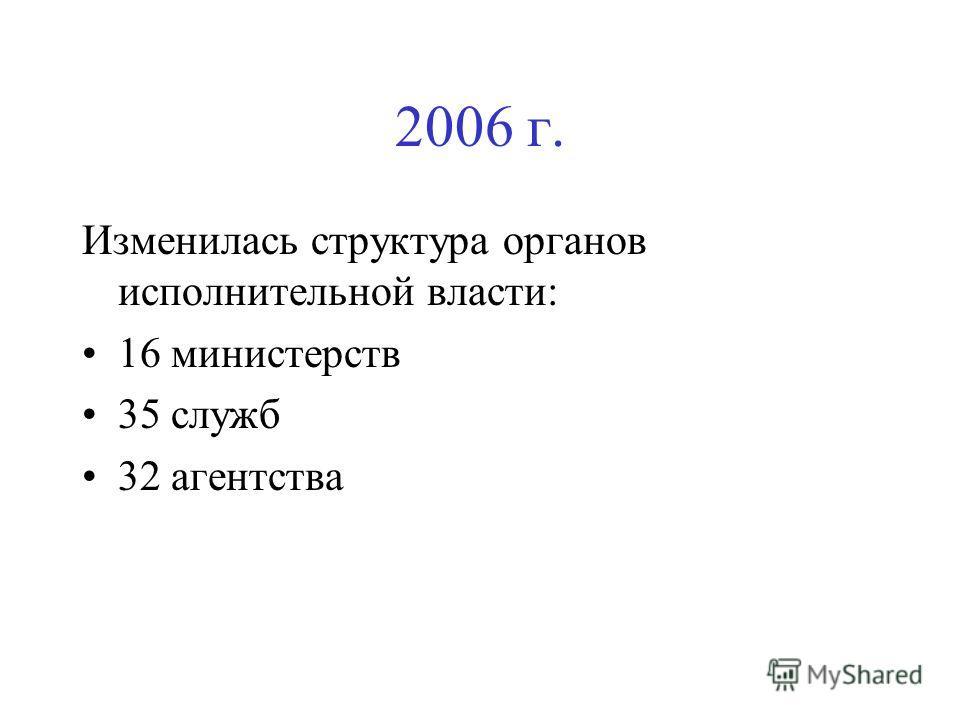 2006 г. Изменилась структура органов исполнительной власти: 16 министерств 35 служб 32 агентства
