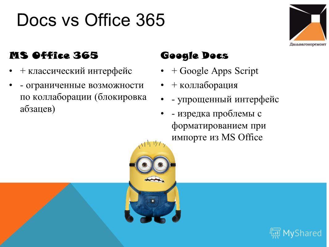Docs vs Office 365 Google Docs + Google Apps Script + коллаборация - упрощенный интерфейс - изредка проблемы с форматированием при импорте из MS Office MS Office 365 + классический интерфейс - ограниченные возможности по коллаборации (блокировка абза