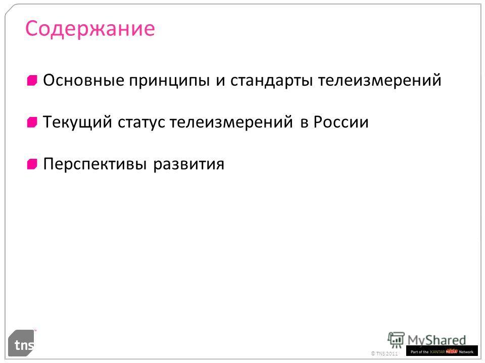 © TNS 2011 Содержание Основные принципы и стандарты телеизмерений Текущий статус телеизмерений в России Перспективы развития