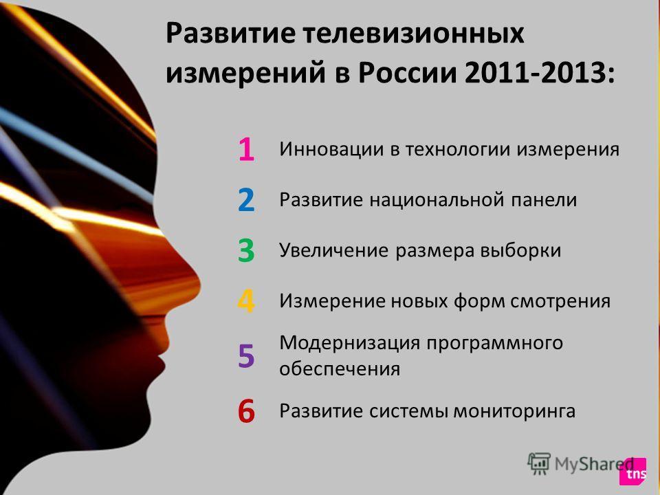 © TNS 2011 Развитие телевизионных измерений в России 2011-2013: 1 Инновации в технологии измерения 2 Развитие национальной панели 3 Увеличение размера выборки 4 Измерение новых форм смотрения 5 Модернизация программного обеспечения 6 Развитие системы