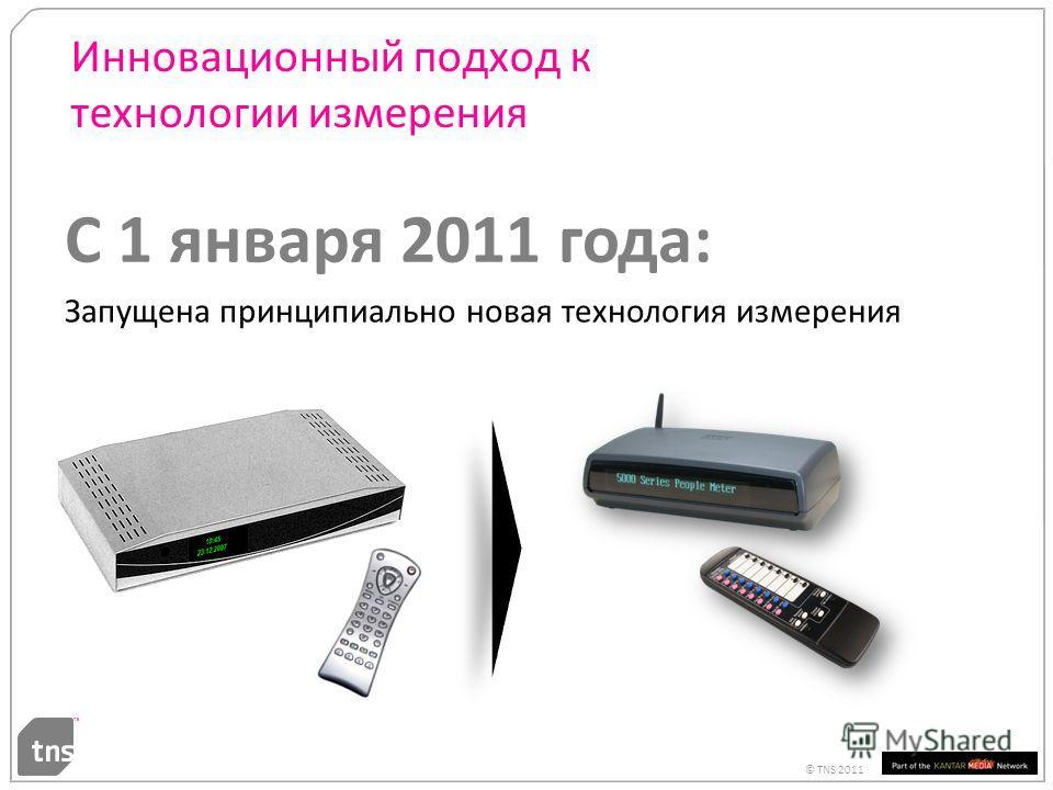 © TNS 2011 Инновационный подход к технологии измерения 24 С 1 января 2011 года: Запущена принципиально новая технология измерения