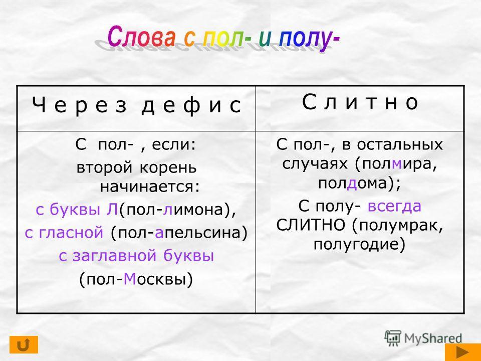 Ч е р е з д е ф и с С л и т н о С пол-, если: второй корень начинается: с буквы Л(пол-лимона), с гласной (пол-апельсина) с заглавной буквы (пол-Москвы) С пол-, в остальных случаях (полмира, полдома); С полу- всегда СЛИТНО (полумрак, полугодие)