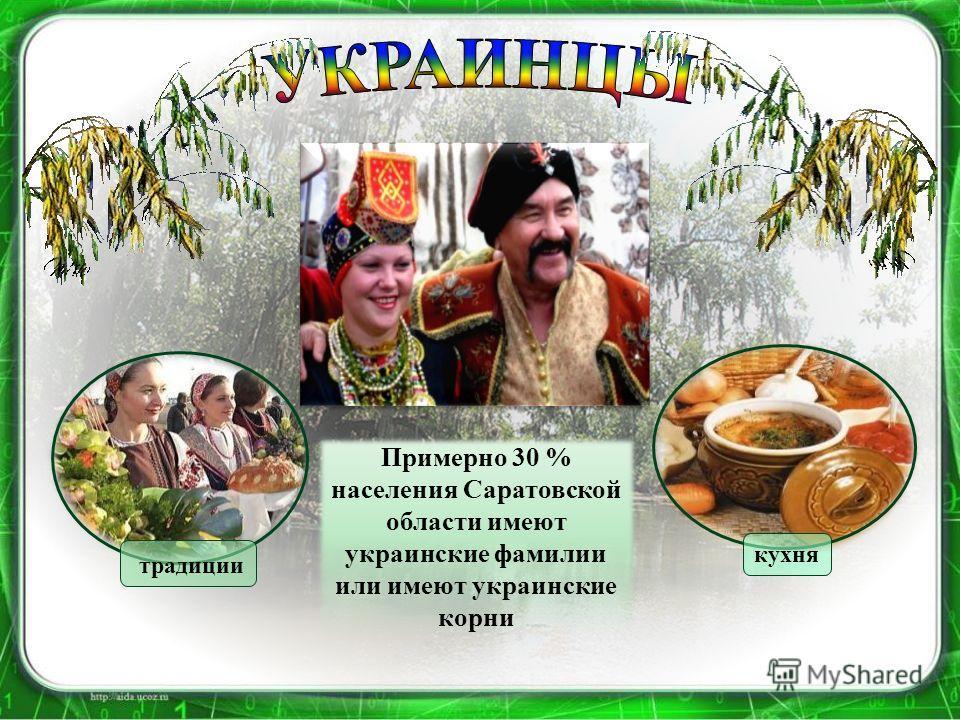 традиции кухня Примерно 30 % населения Саратовской области имеют украинские фамилии или имеют украинские корни