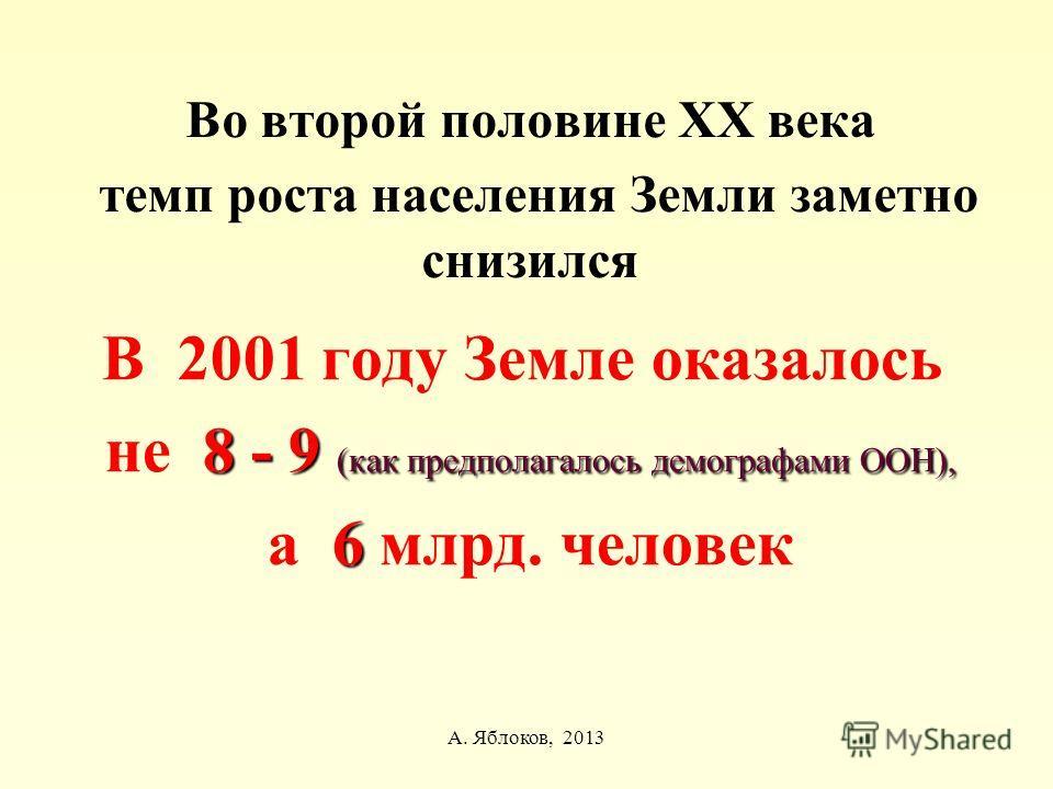 А. Яблоков, 2013 Во второй половине ХХ века темп роста населения Земли заметно снизился В 2001 году Земле оказалось 8 - 9 (как предполагалось демографами ООН), не 8 - 9 (как предполагалось демографами ООН), 6 а 6 млрд. человек