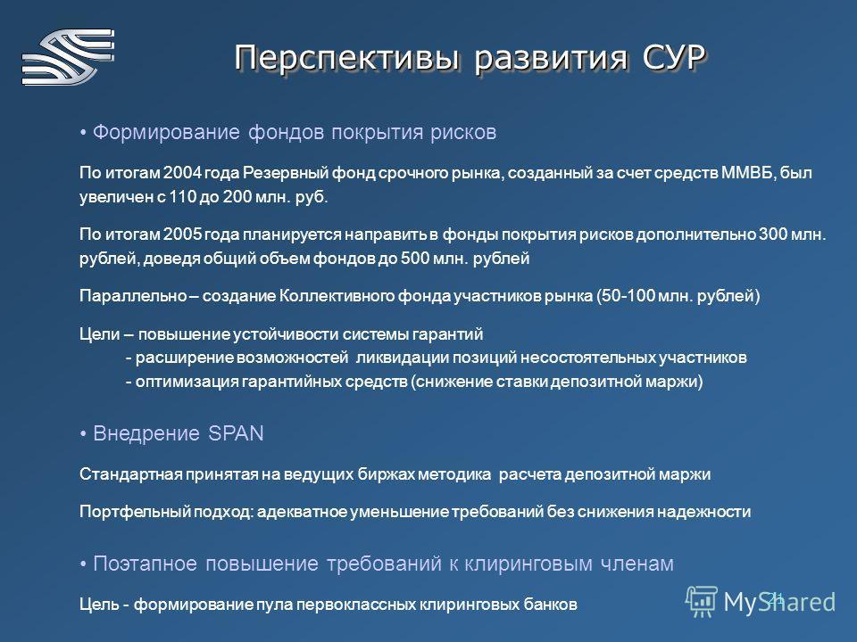 21 Формирование фондов покрытия рисков По итогам 2004 года Резервный фонд срочного рынка, созданный за счет средств ММВБ, был увеличен с 110 до 200 млн. руб. По итогам 2005 года планируется направить в фонды покрытия рисков дополнительно 300 млн. руб