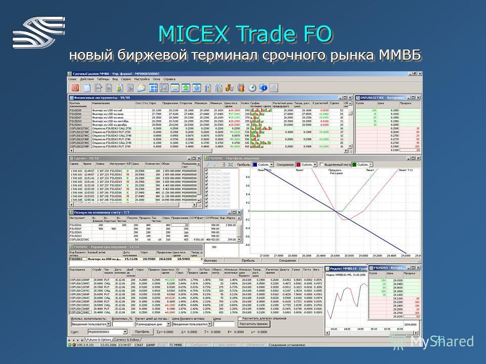 23 MICEX Trade FO новый биржевой терминал срочного рынка ММВБ