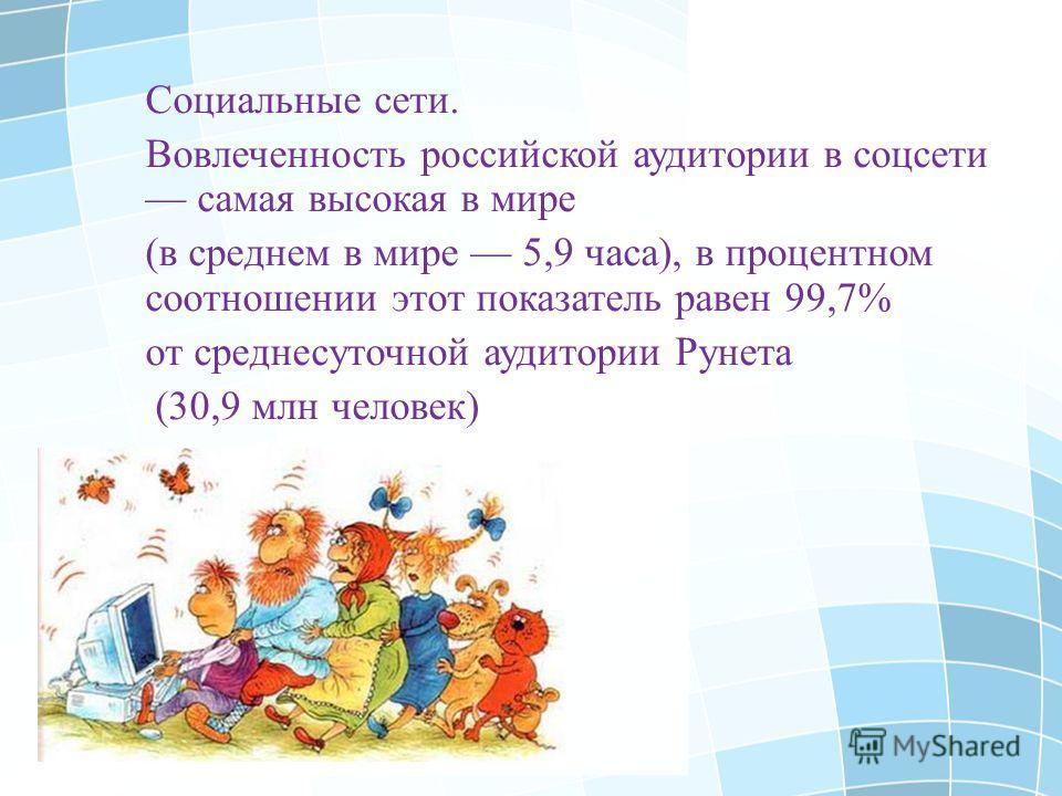 Социальные сети. Вовлеченность российской аудитории в соцсети самая высокая в мире (в среднем в мире 5,9 часа), в процентном соотношении этот показатель равен 99,7% от среднесуточной аудитории Рунета (30,9 млн человек)
