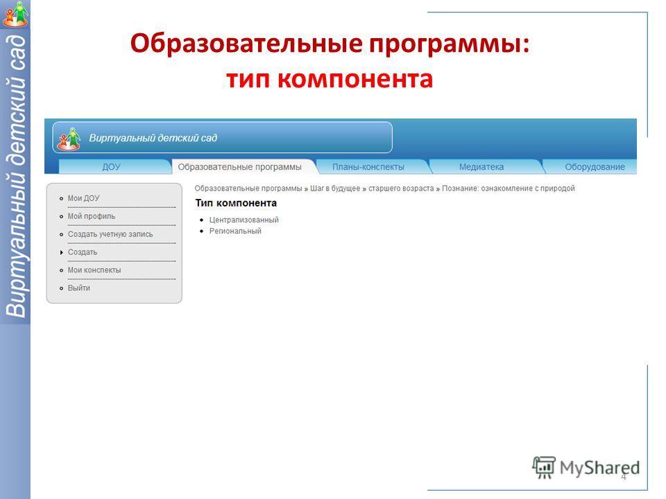 Образовательные программы: тип компонента 4