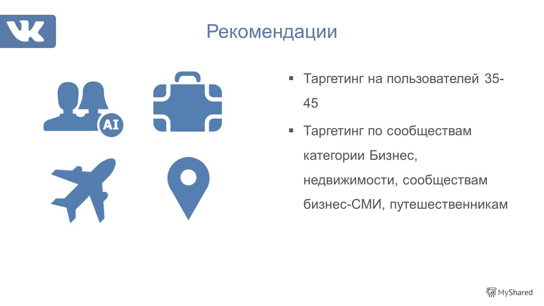 Таргетинг на пользователей 35- 45 Таргетинг по сообществам категории Бизнес, недвижимости, сообществам бизнес-СМИ, путешественникам Рекомендации