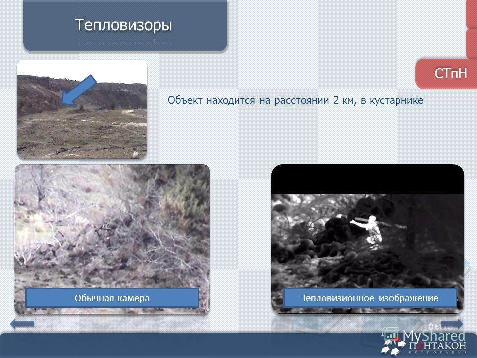Объект находится на расстоянии 2 км, в кустарнике Тепловизионное изображениеОбычная камера СТпН