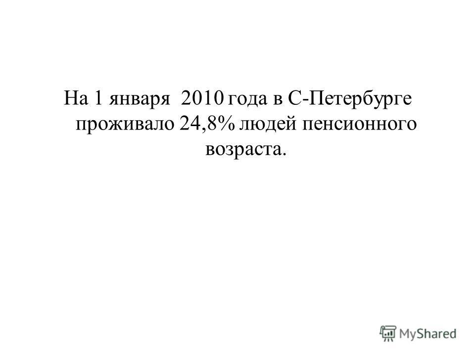 На 1 января 2010 года в С-Петербурге проживало 24,8% людей пенсионного возраста.