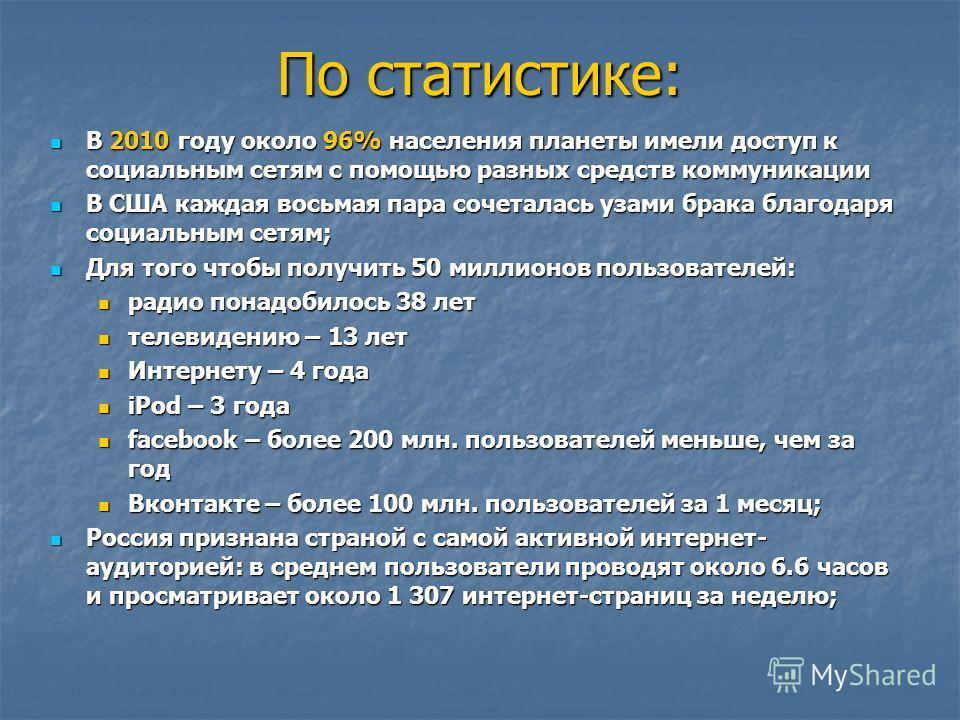По статистике: В 2010 году около 96% населения планеты имели доступ к социальным сетям с помощью разных средств коммуникации В 2010 году около 96% населения планеты имели доступ к социальным сетям с помощью разных средств коммуникации В США каждая во