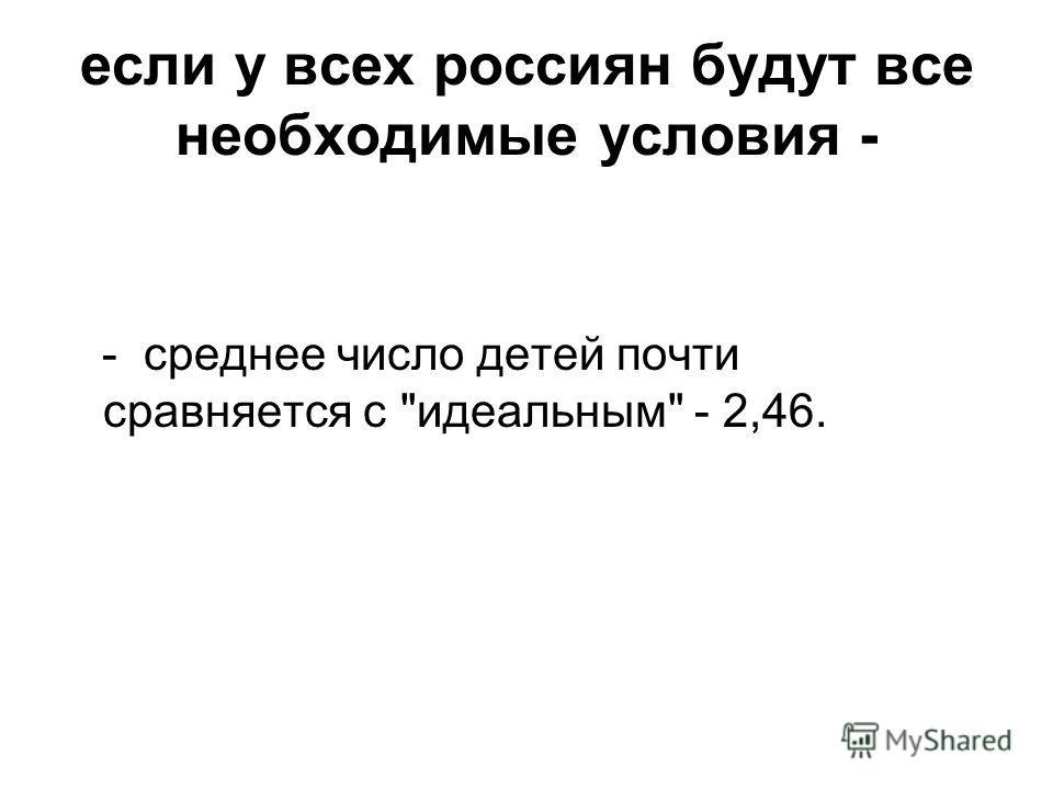 если у всех россиян будут все необходимые условия - - среднее число детей почти сравняется с идеальным - 2,46.