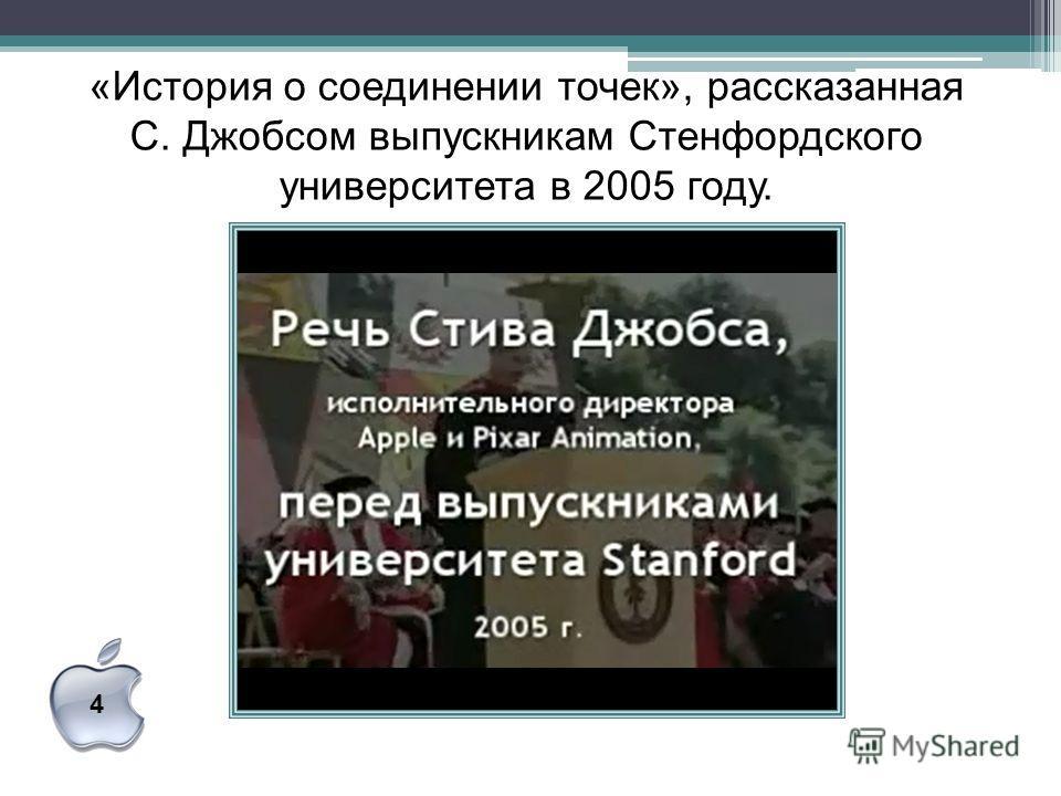 «История о соединении точек», рассказанная С. Джобсом выпускникам Стенфордского университета в 2005 году. 4