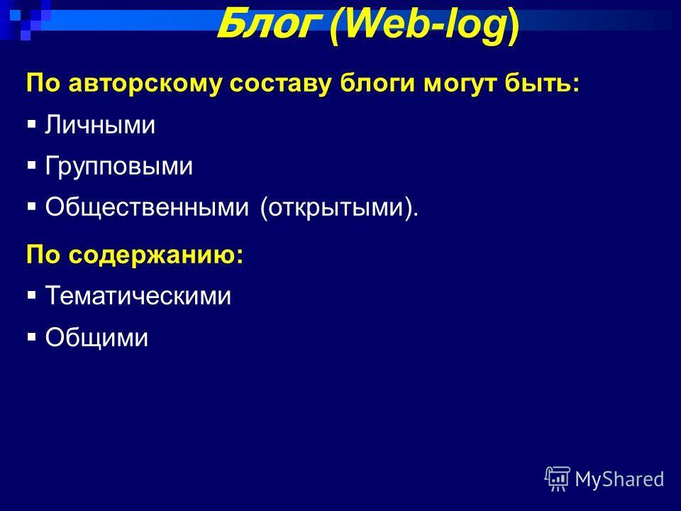 Блог (Web-log) По авторскому составу блоги могут быть: Личными Групповыми Общественными (открытыми). По содержанию: Тематическими Общими