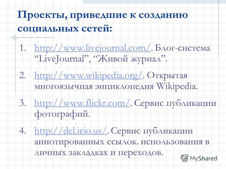 Проекты, приведшие к созданию социальных сетей: 1.http://www.livejournal.com/. Блог-система LiveJournal, Живой журнал.http://www.livejournal.com/ 2.http://www.wikipedia.org/. Открытая многоязычная энциклопедия Wikipedia.http://www.wikipedia.org/ 3.ht