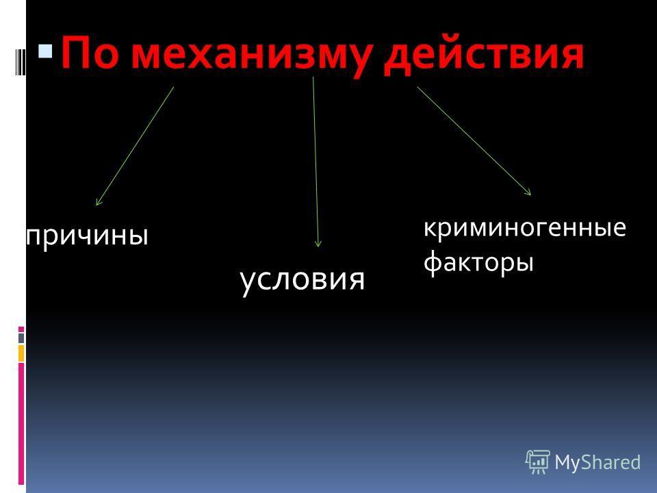 По механизму действия причины условия криминогенные факторы